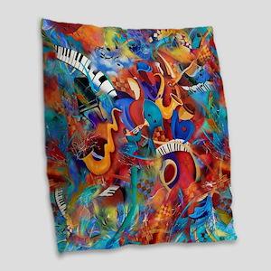 Music Trio Curvy Piano Colorfu Burlap Throw Pillow