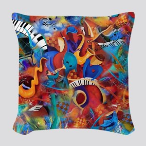 Music Trio Curvy Piano Colorfu Woven Throw Pillow