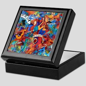 Music Trio Curvy Piano Colorful Abstr Keepsake Box