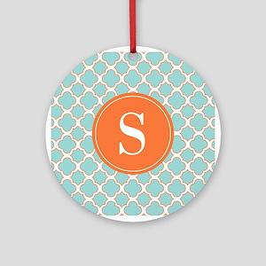 Quatrefoil Turquoise White Orange with Monogram Or