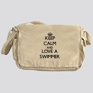 Keep Calm and Love a Swimmer Messenger Bag