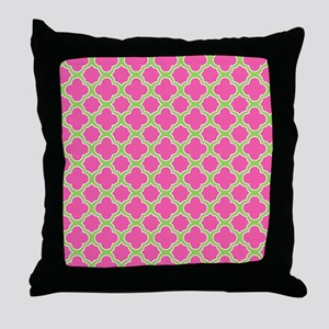 Quatrefoil Pattern Pink and Lime Green Throw Pillo