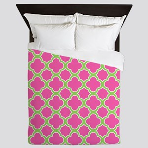 Quatrefoil Pattern Pink and Lime Green Queen Duvet