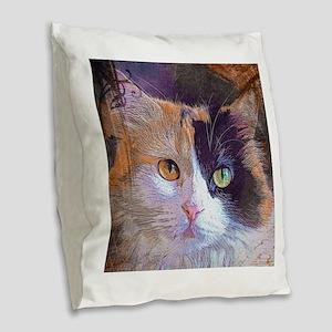 Calico Cat Burlap Throw Pillow
