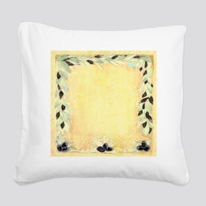 Mediterranean Olive Garland D Square Canvas Pillow