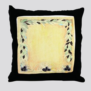 Mediterranean Olive Garland Design Pe Throw Pillow