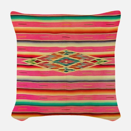 Vintage Pink Mexican Serape Woven Throw Pillow