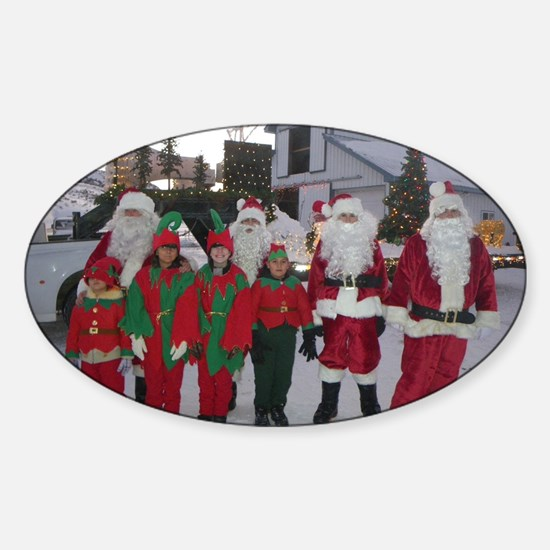Santa and his elves Sticker (Oval)