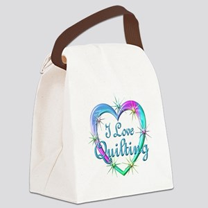 I Love Quilting Canvas Lunch Bag