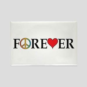 Peace,Love,Forever Rectangle Magnet