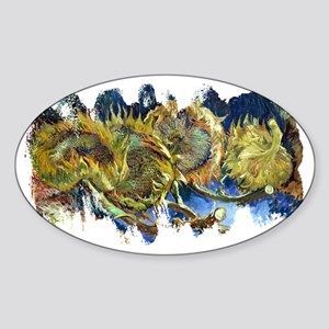 Four Cut Sunflowers by Van Gogh Sticker (Oval)