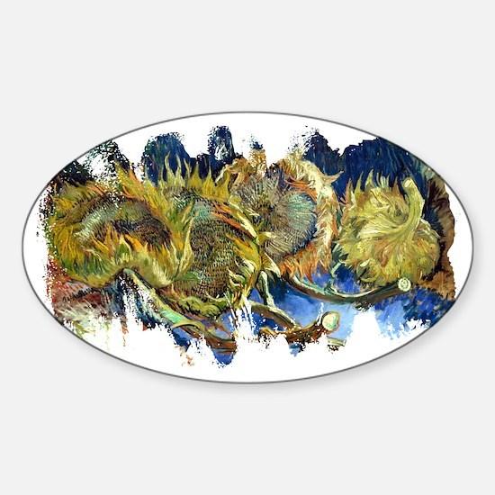 Four Cut Sunflowers by Van Gogh Sticker (Oval)