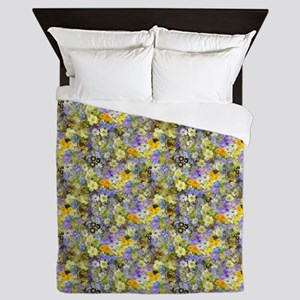 Purple And Yellow Spring Flowers Queen Duvet