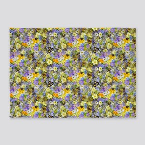 Purple And Yellow Spring Flowers 5'X7'area Rug
