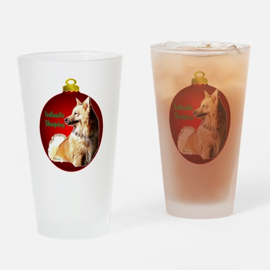 Icelandic Sheepdog christmas Drinking Glass