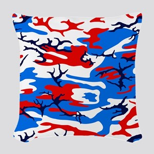 Red White and Blue Camo Woven Throw Pillow