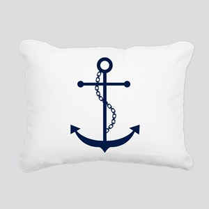 Blue Anchor Rectangular Canvas Pillow