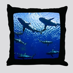 Sharks Underwater Throw Pillow