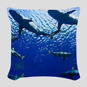 Sharks Underwater Woven Throw Pillow