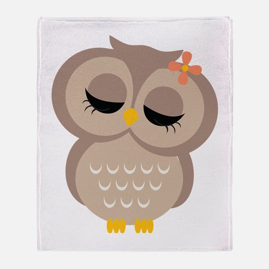 Single Girl Owl Throw Blanket