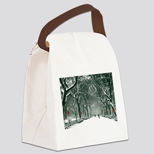 Central Park Snowy Path Canvas Lunch Bag