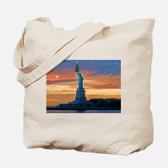 Statue of Liberty with Xmas Tree Tote Bag