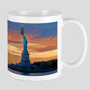 Statue of Liberty with Xmas Tree Mugs