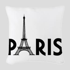 Paris w/ Eiffel Woven Throw Pillow