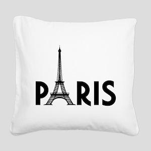 Paris w/ Eiffel Square Canvas Pillow