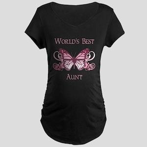 World's Best Aunt (Butterfly) Maternity Dark T-Shi