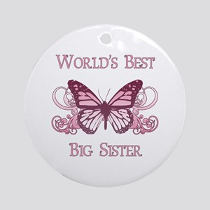 World's Best Big Sister (Butterfly) Ornament (Roun