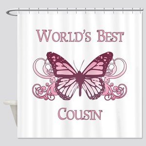 World's Best Cousin (Butterfly) Shower Curtain