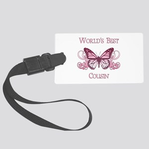 World's Best Cousin (Butterfly) Large Luggage Tag