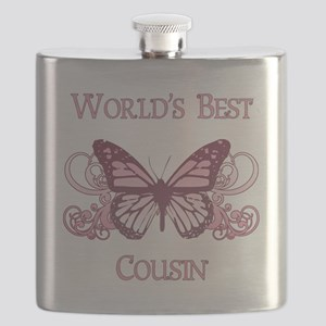 World's Best Cousin (Butterfly) Flask