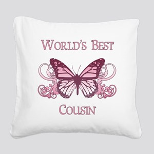 World's Best Cousin (Butterfly) Square Canvas Pill