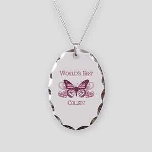 World's Best Cousin (Butterfly) Necklace Oval Char