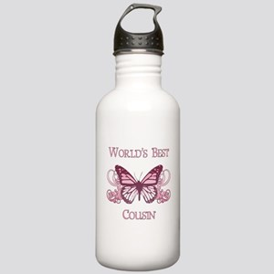 World's Best Cousin (Butterfly) Stainless Water Bo