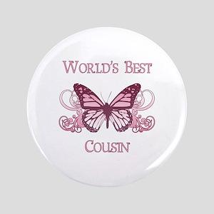 "World's Best Cousin (Butterfly) 3.5"" Button"