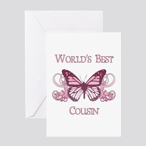 World's Best Cousin (Butterfly) Greeting Card