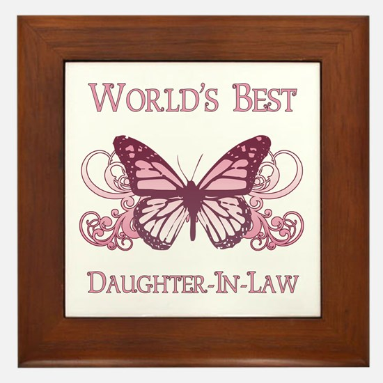 World's Best Daughter-In-Law (Butterfly) Framed Ti