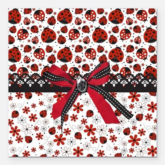 "Dancing Ladybugs Square Car Magnet 3"" x 3"""