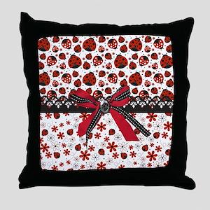 Dancing Ladybugs Throw Pillow
