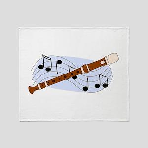Music Recorder Throw Blanket