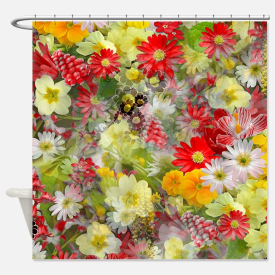 Red And Yellow Spring Flowers Shower Curtain