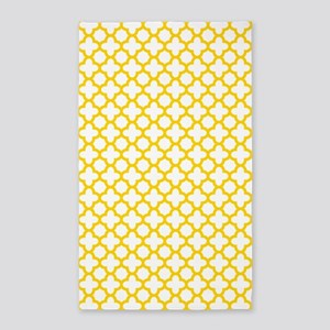 Yellow Quatrefoil Pattern 3'x5' Area Rug