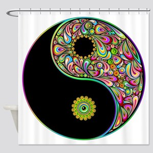 Yin Yang Symbol Psychedelic Colors Shower Curtain