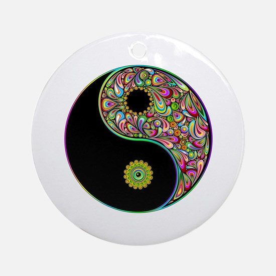 Yin Yang Symbol Psychedelic Colors Ornament (Round