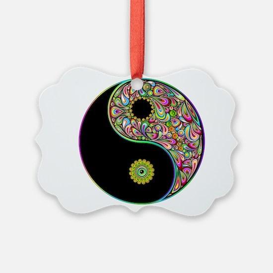 Yin Yang Symbol Psychedelic Colors Ornament