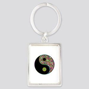 Yin Yang Symbol Psychedelic Colors Keychains