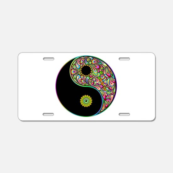 Yin Yang Symbol Psychedelic Colors Aluminum Licens